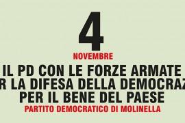 Il PD con le forze armate per la difesa della democrazia e per il bene del paese